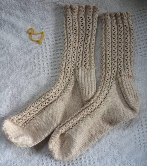 Lace Rib Socks - Classic Elite Nature's Cotton